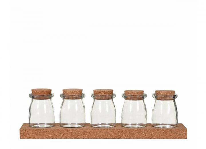 Cork spice rack with five glass jars from Garden Trading