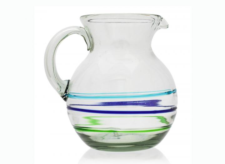 Recycled glass curved jug
