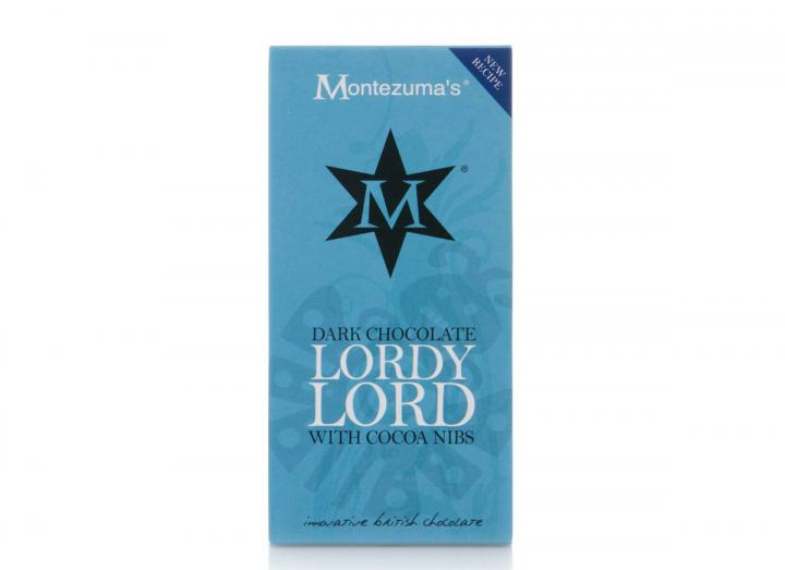 "Montezuma's dark chocolate with cocoa nibs ""lordy lord"" bar"