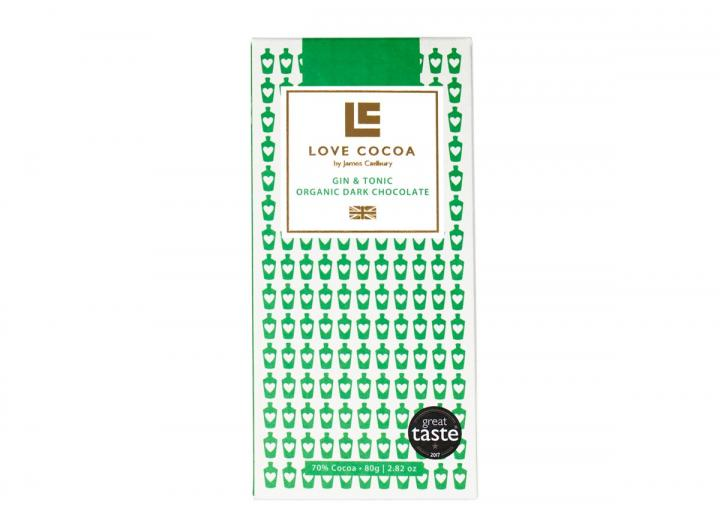 Love Cocoa dark chocolate with gin & tonic 80g bar