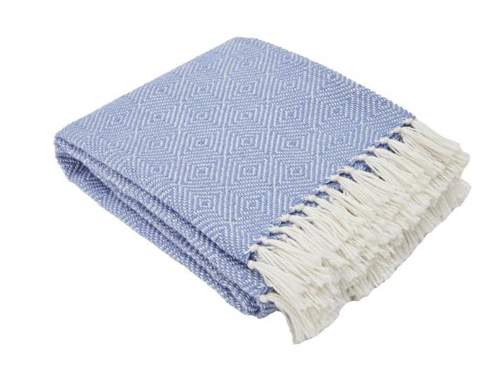 Diamond design blanket in cobalt from Weaver Green