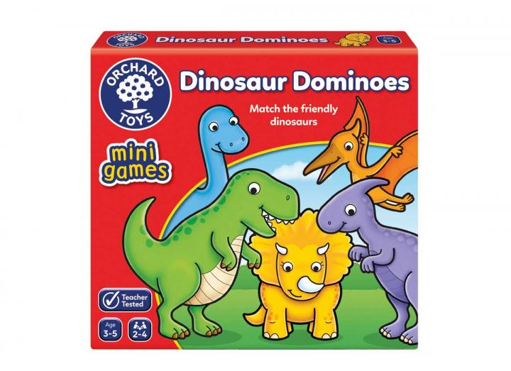 Dinosaur Dominoes mini game from Orchard Toys