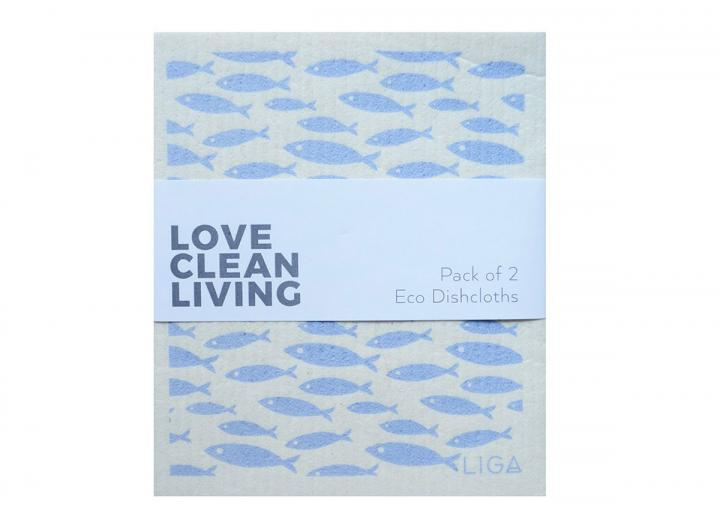 Pack of two coastal inspired printed eco dish cloths