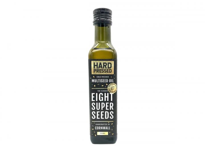 Cold pressed, multiseed oil with eight super seeds. Handcrated in Cornwall By Hard Pressed.