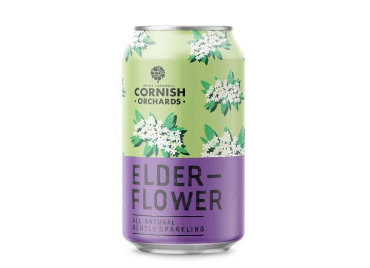 Cornish Orchards elderflower sparkling juice drink 330ml can