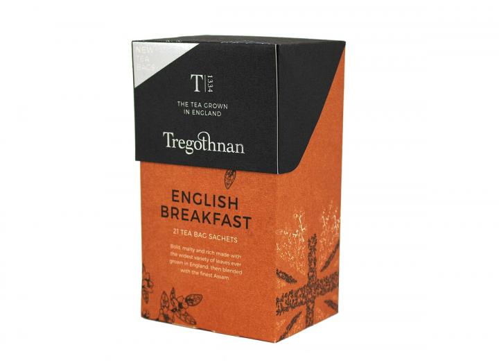 Tregothnan English Breakfast tea 21 tea bag sachet box