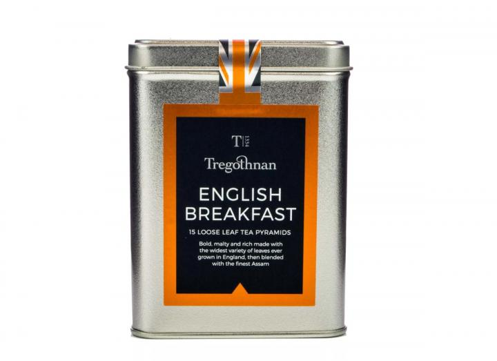 Tregothnan English Breakfast loose leaf 15 pyramids caddy