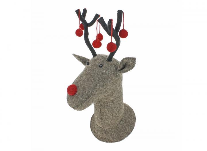 Felt reindeer head with red pom poms on antlers