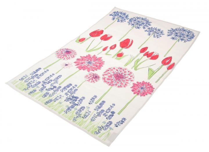 Organic cotton tea towel with floral design