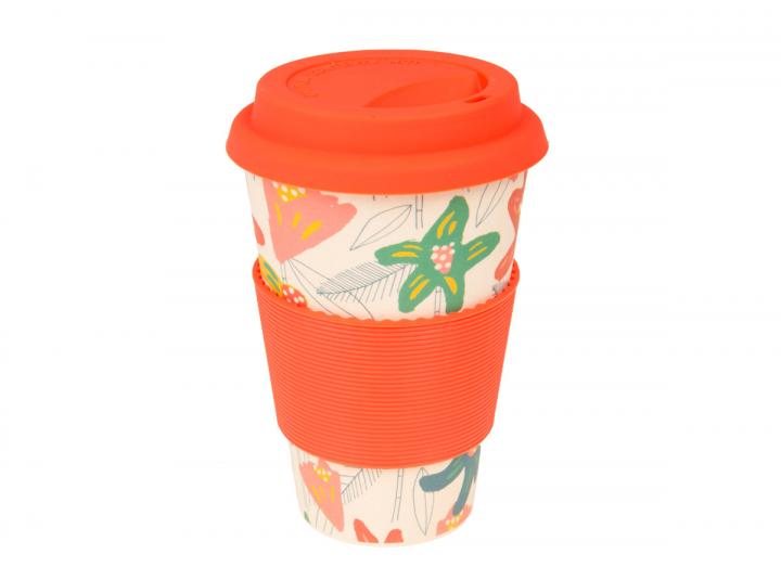 Floral print bamboo coffee cup, exclusive Eden Project design