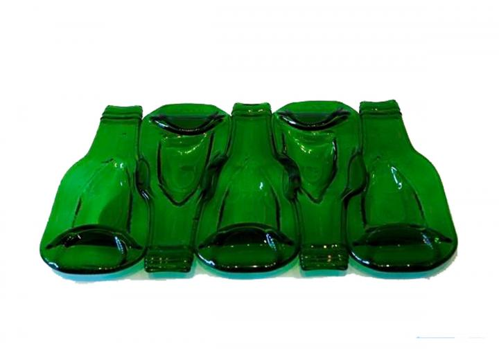 Green glass bottle dish made in Cornwall by Jane Smith