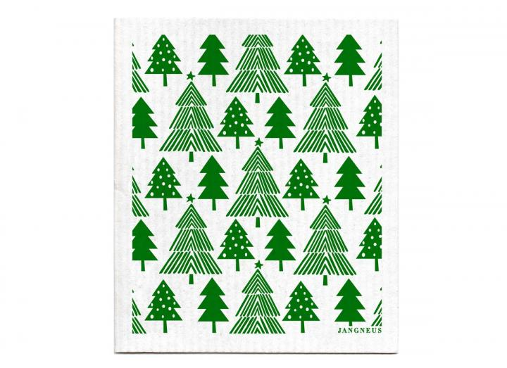 Green Christmas forest dishcloth from Jangneus