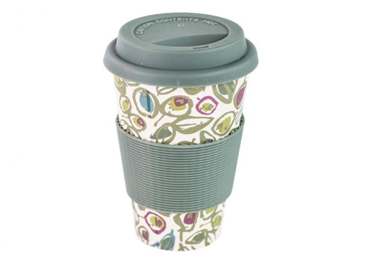 Green Olive Print Bamboo Coffee Cup