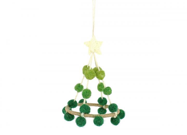 Green pom pom tree hanging decoration