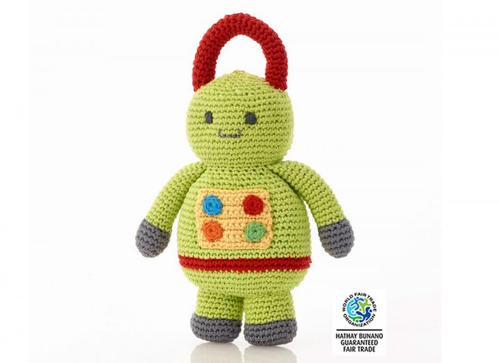 Crochet green robot