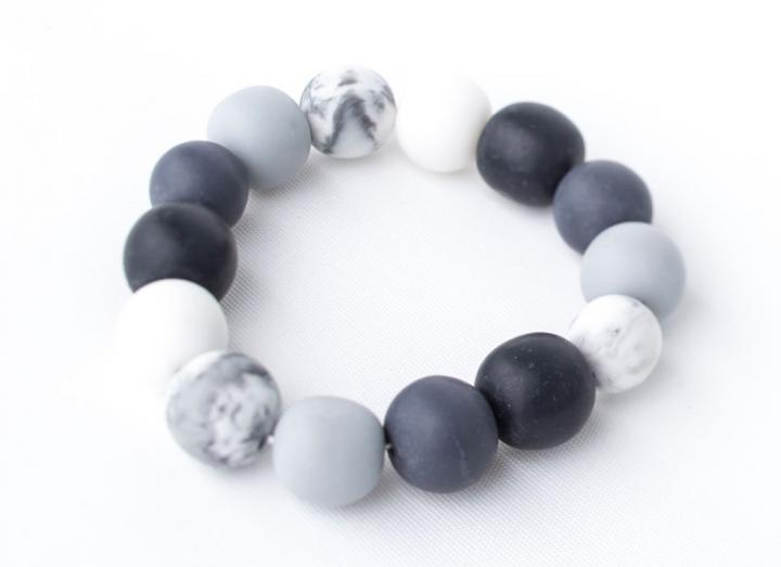 Grey and White Ball Bead Bracelet