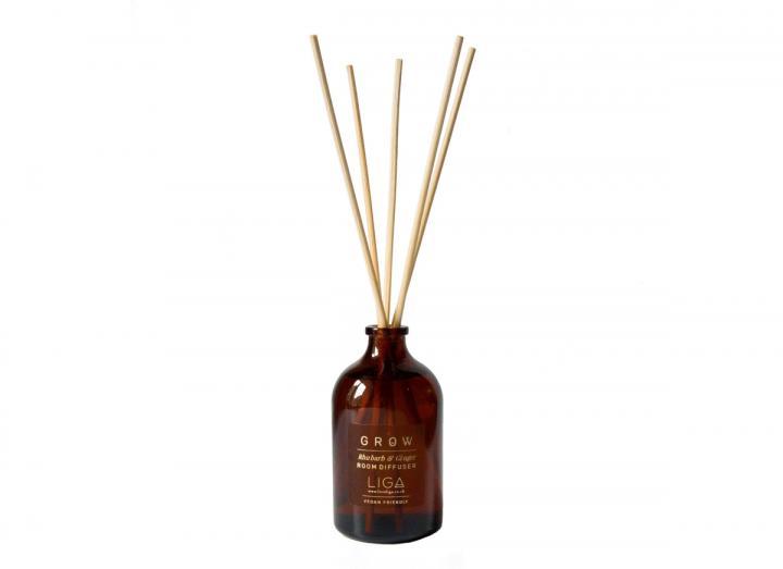 Grow Rhubarb & Ginger reed diffuser handmade in Cornwall by Liga
