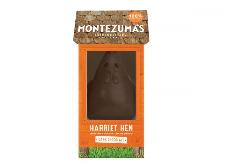 Montezuma's dark chocolate Harriet hen with mini eggs 275g