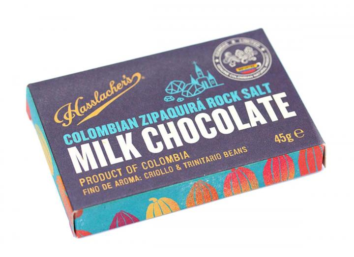Hasslacher's Colombian milk chocolate with zipaquira rock salt 45g