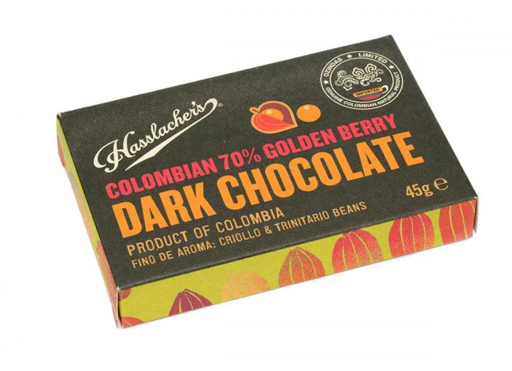 Hasslacher's Colombian 70% dark chocolate with golden berry 45g