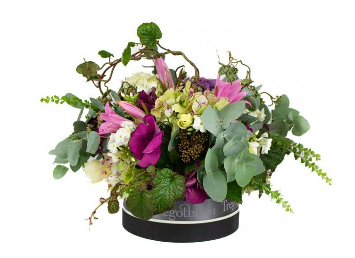Hat box bouquet, hand-tied by Tregothnan
