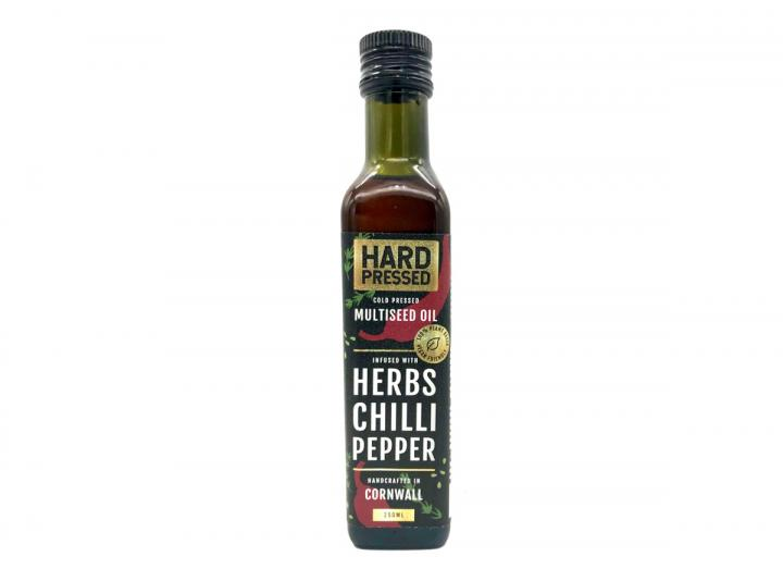 Cold pressed, multiseed oil infused with herbs, chilli & pepper. Handcrated in Cornwall By Hard Pressed.