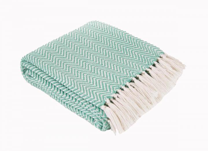 Aqua herringbone blanket from Weaver Green