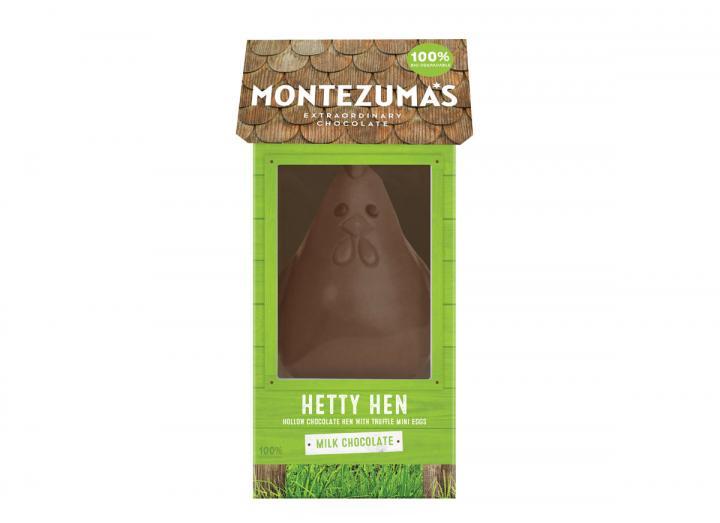 Montezuma's milk chocolate Hetty hen with mini eggs 275g
