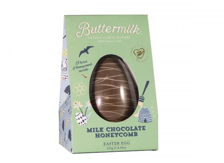 Milk chocolate honeycomb Easter egg, handmade in Cornwall by Buttermilk
