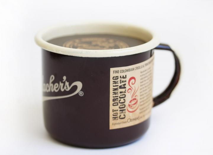 Hasslachers drinking chocolate discs in an enamel mug