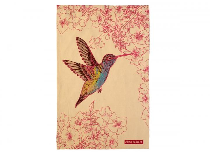 Hummingbird design cotton tea towel