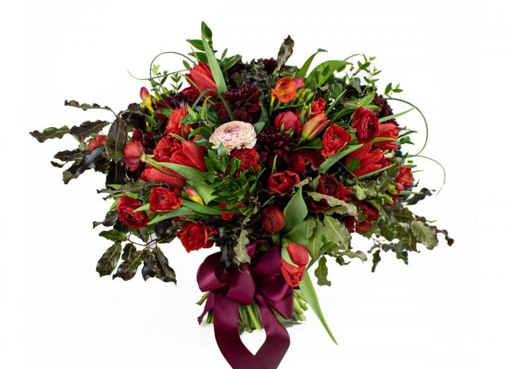 The immense red valentine's bouquet, hand-tied by Florists at the Tregothnan Estate in Cornwall