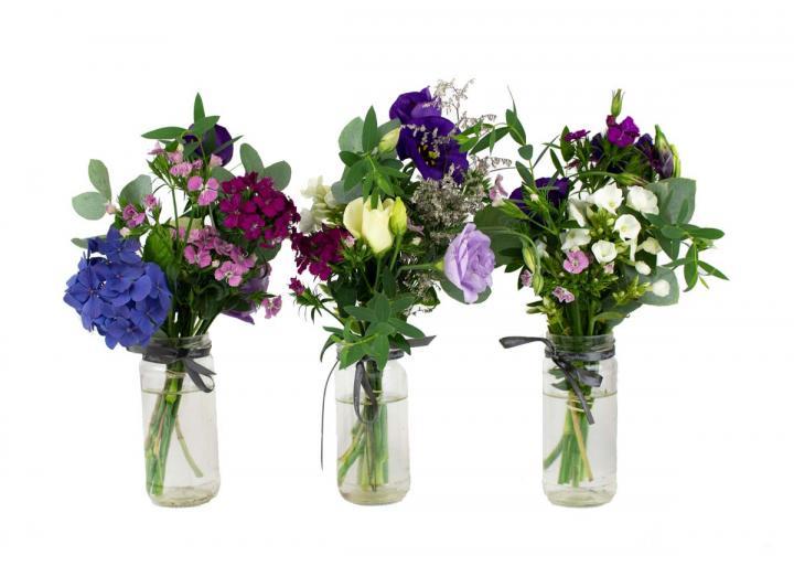 Jam jar flower trio, hand-tied by Tregothnan