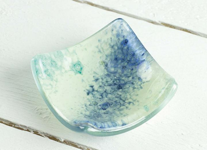 Jo Downs glacial glass earring dish, handmade in Cornwall