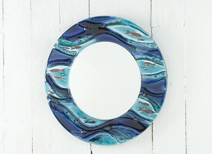 Jo Downs sennen 38cm round mirror, handmade in Cornwall