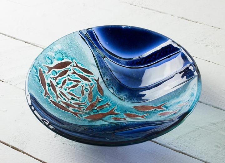 Jo Downs Sennen large round dish, handmade in Cornwall