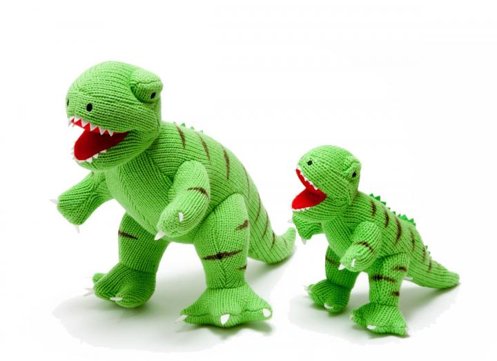 Knitted t-rex toy