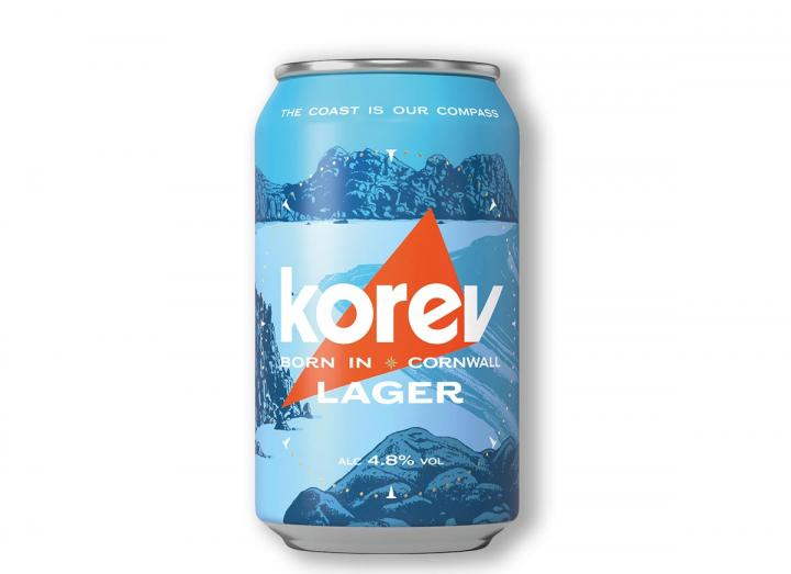 Korev lager 330ml can from St Austell Brewery