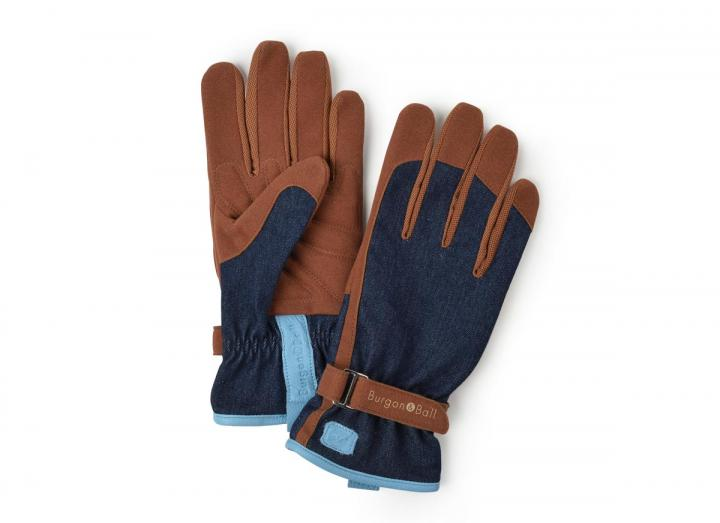Ladies denim gardening gloves from Burgon & Ball