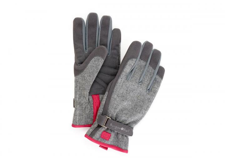 Ladies grey tweed gardening gloves from Burgon & Ball