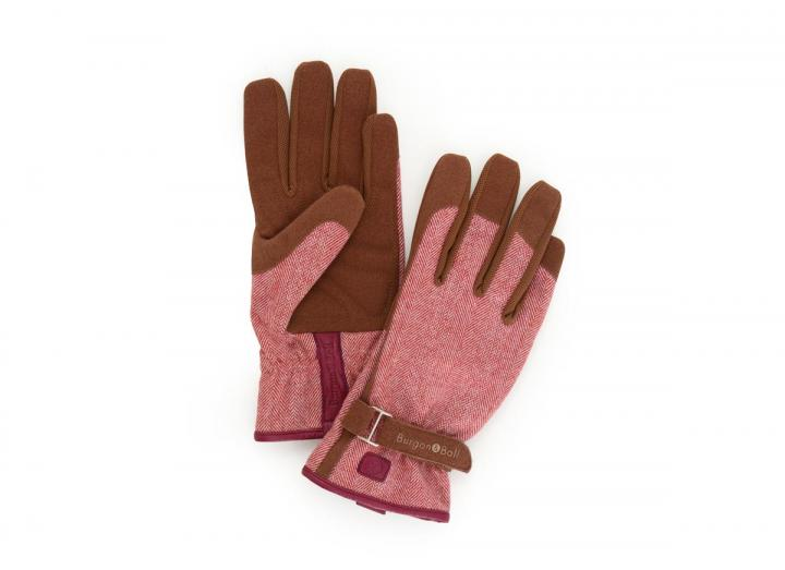 Ladies red tweed gardening gloves from Burgon & Ball
