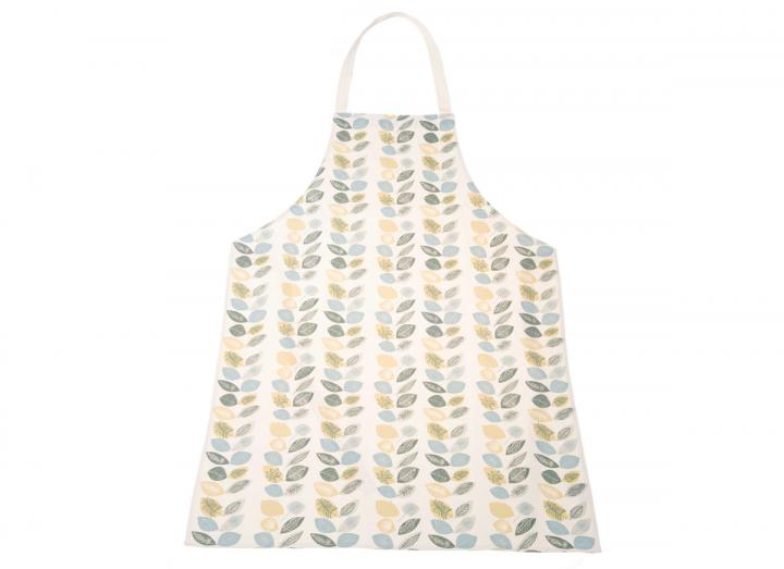 Organic cotton apron with leaf print design