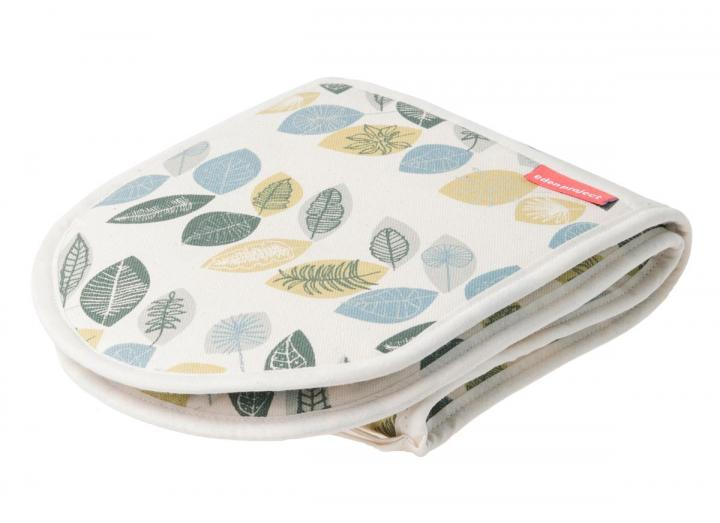 Organic cotton double oven gloves with leaf print design