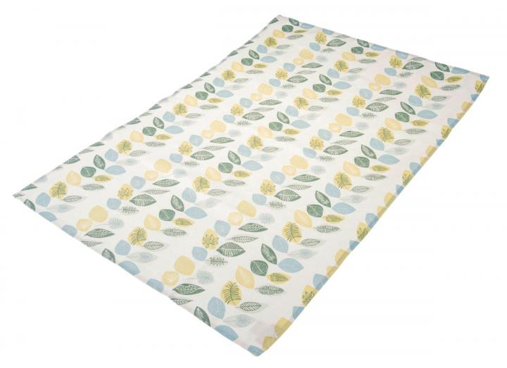 Organic cotton tea towel with leaf print design