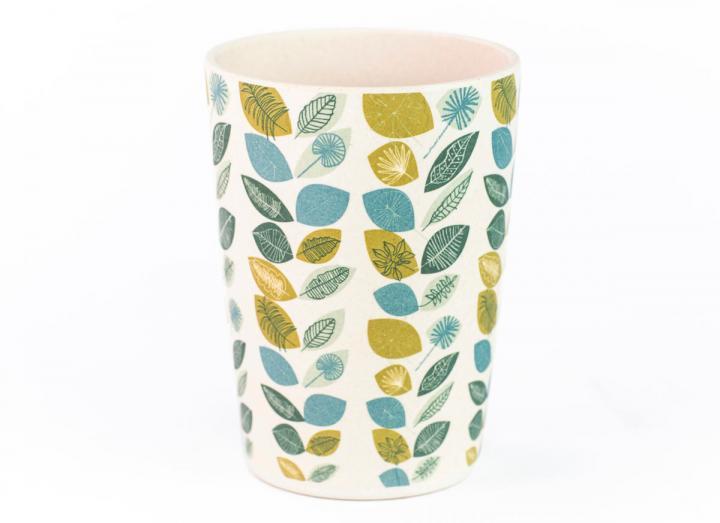 Leaf print bamboo beaker