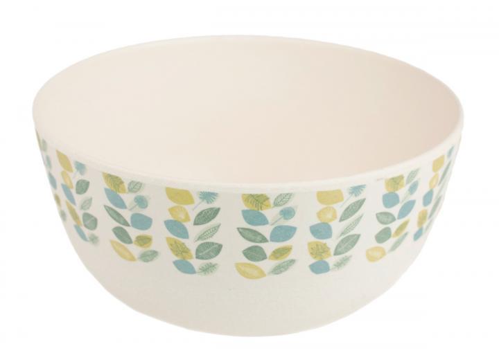 Leaf print bamboo fibre cereal bowl