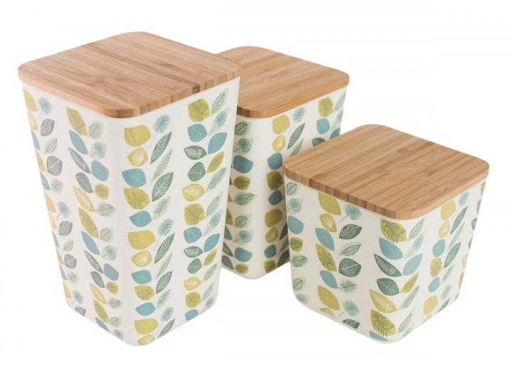Leaf print bamboo fibre containers