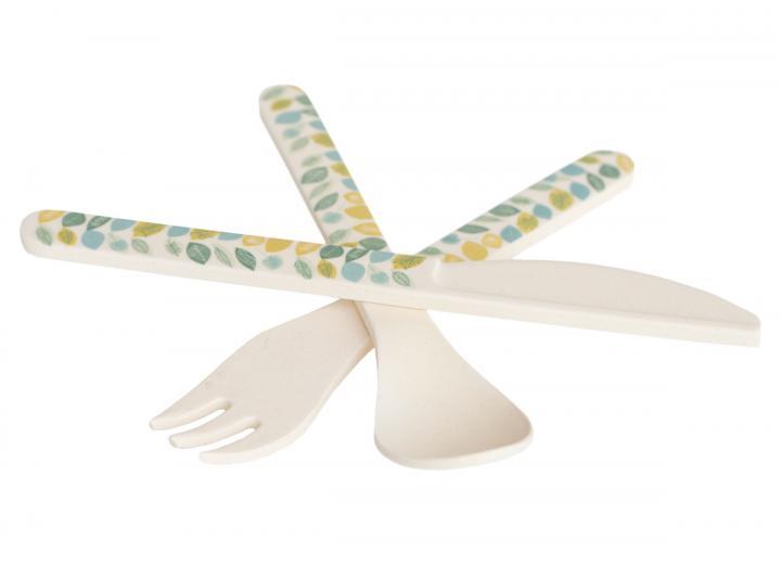 Leaf print bamboo fibre cutlery