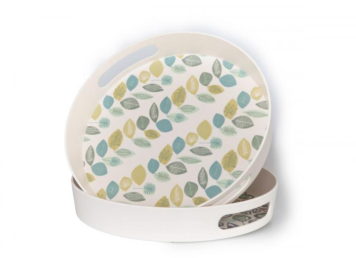 Leaf print round bamboo tray with handles