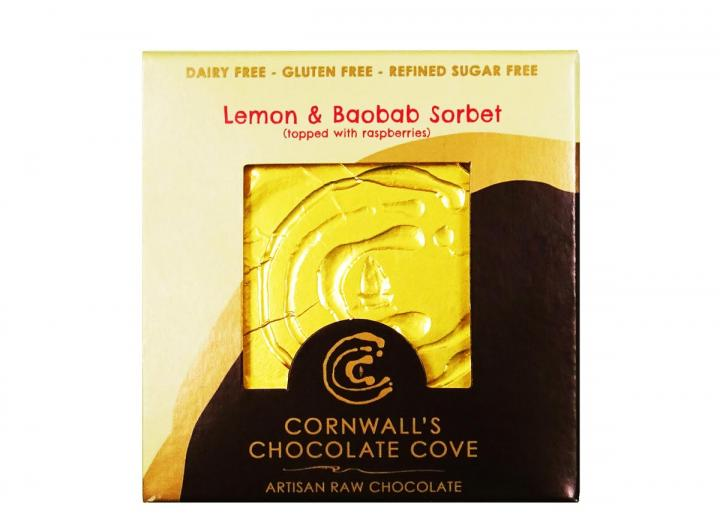 Lemon & Baobab sorbet raw, vegan, organic chocolate handmade in Cornwall
